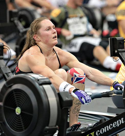 2013 CrossFit Games champ Sam Briggs on her way to rowing 21,097 meters in 1:27:49.