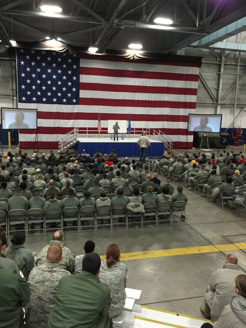 CrossFit Founder and CEO Greg Glassman addresses the 55th Air Wing at Offutt Air Force Base in Nebraska.