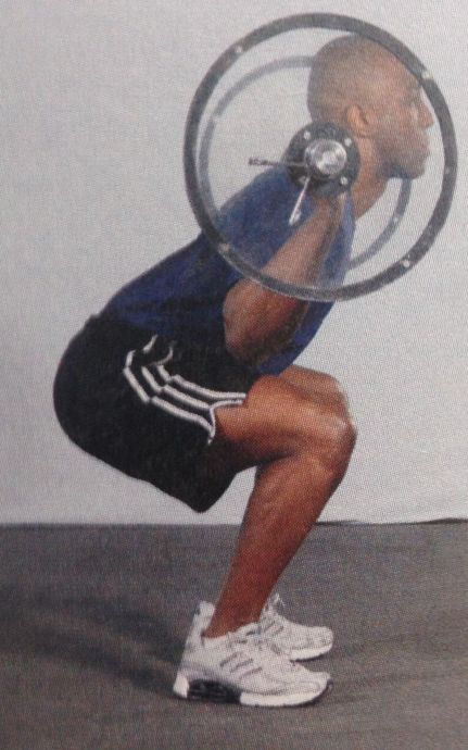 The NSCA's Essentials of Strength Training and Conditioning textbook presents this as a full squat, with proper back position.