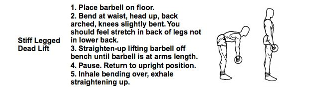 "Does this make sense? CHAMP Staff Teach the ""stiff legged dead lift."" Source: http://hprc-online.org/performance-optimization/physical-fitness/NavySEALFitnessGuide.pdf"