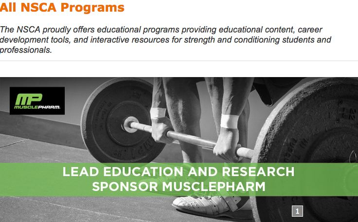 NSCA proudly displays its Musclepharm relationship: http://www.nsca.com/education/programs/