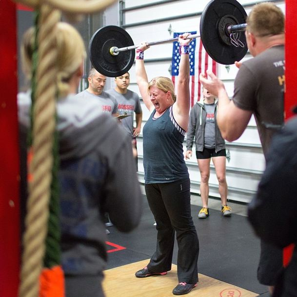Katrina Pratt's last rep of Workout 15.5, CrossFit Chesapeake.