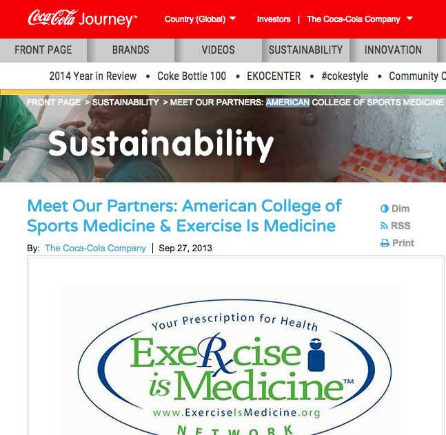 Why is the ACSM partnering with Coca-Cola yet attacking CrossFit?  http://www.coca-colacompany.com/sustainability/meet-our-partners-american-college-of-sports-medicine-exercise-is-medicine