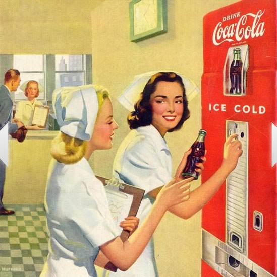 Shouldn't we be past the age when Soda Pop has a place in medicine? http://www.madmenart.com/vintage-advertising/detail-of-coca-cola-hospital-nurses-1948/