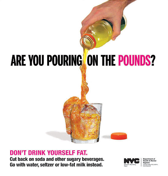 New advertisement campaign by NYC Department of Health & Mental Hygiene, depicting a bottle of Gatorade turning into fat as it is poured into a glass.