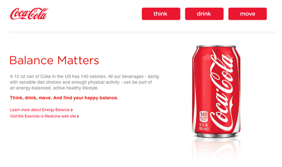 """Coca-Cola and ACSM's """"Exercise is Medicine"""": http://brandchannel.com/2013/01/16/coca-cola-continues-obesity-rebuttal-with-new-tv-commercial-video/"""