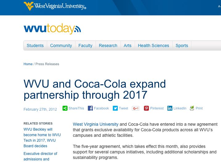Source: http://wvutoday.wvu.edu/n/2012/02/27/wvu-and-coca-cola-expand-partnership-through-2017
