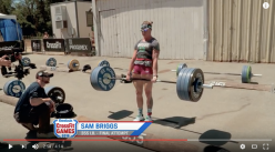 2016 Reebok CrossFit Games athlete Sam Briggs deadlifting 355 pounds. This is exactly 5 pounds above the weight Barrish hurt himself lifting, and exactly 355 pounds above the weight he should have been lifting had he followed his coach's instructions.